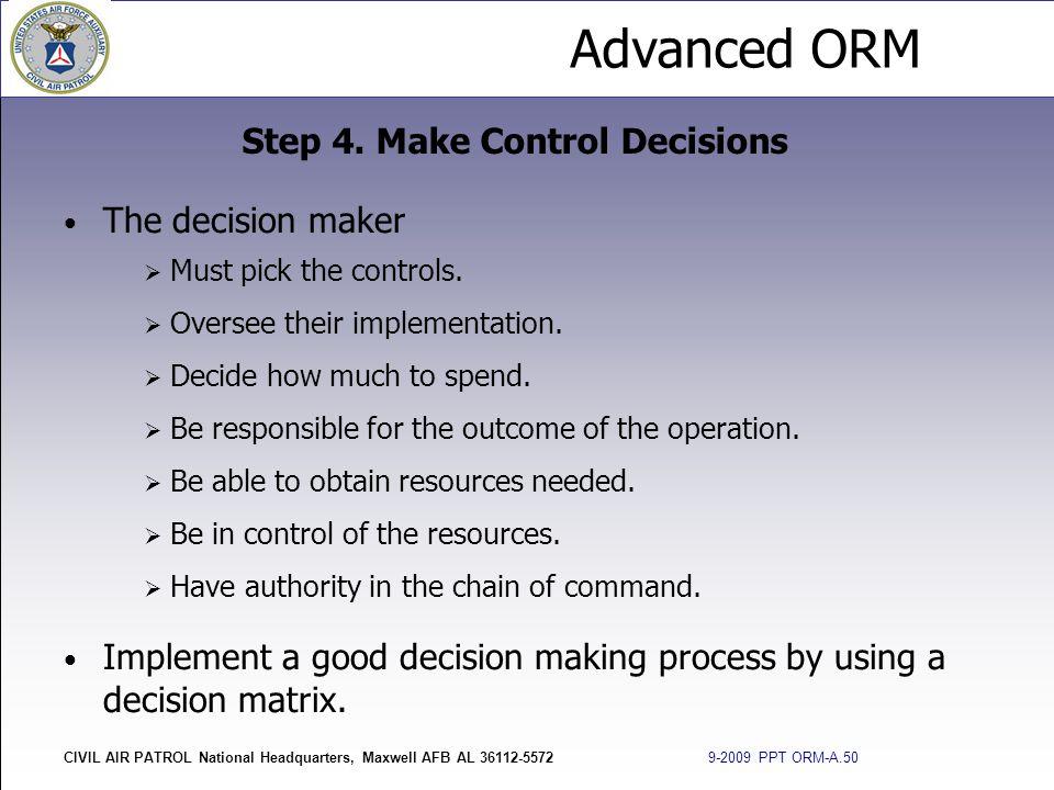 Step 4. Make Control Decisions