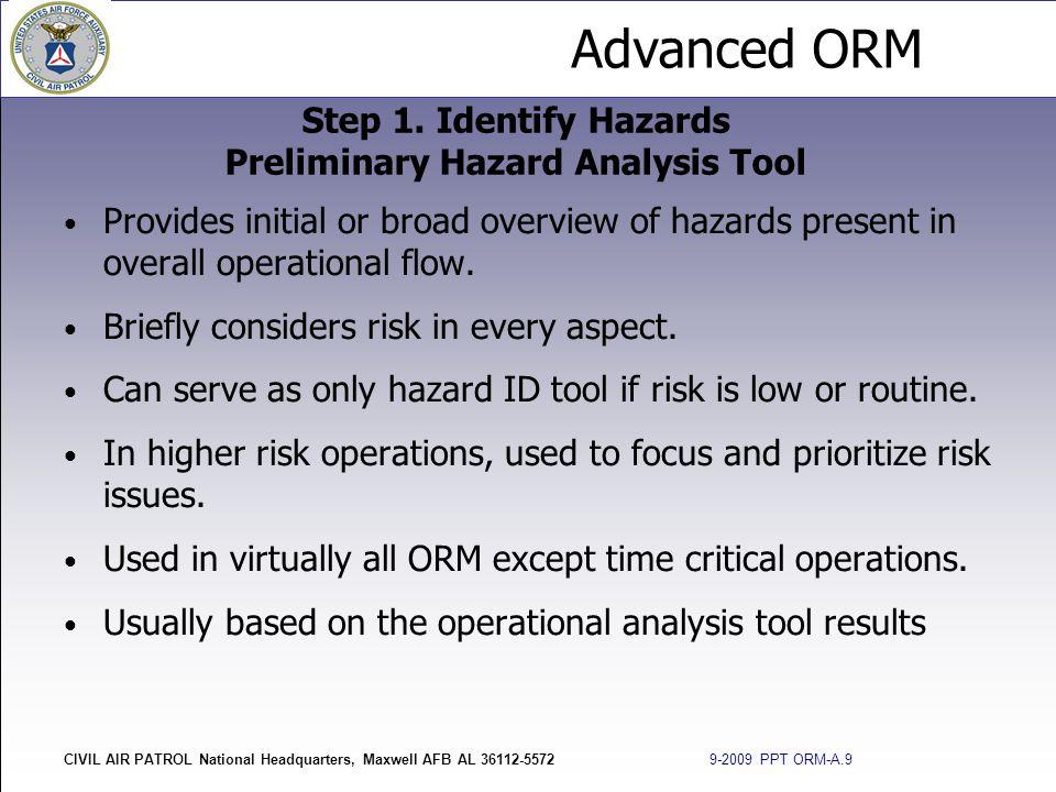 Step 1. Identify Hazards Preliminary Hazard Analysis Tool