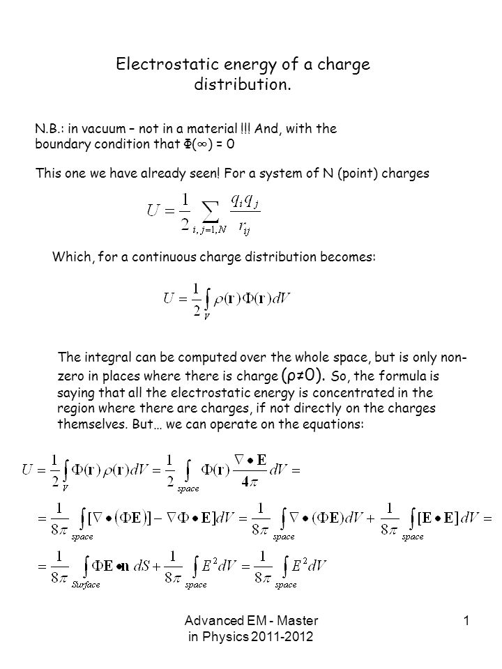 Electrostatic Energy Of A Charge Distribution
