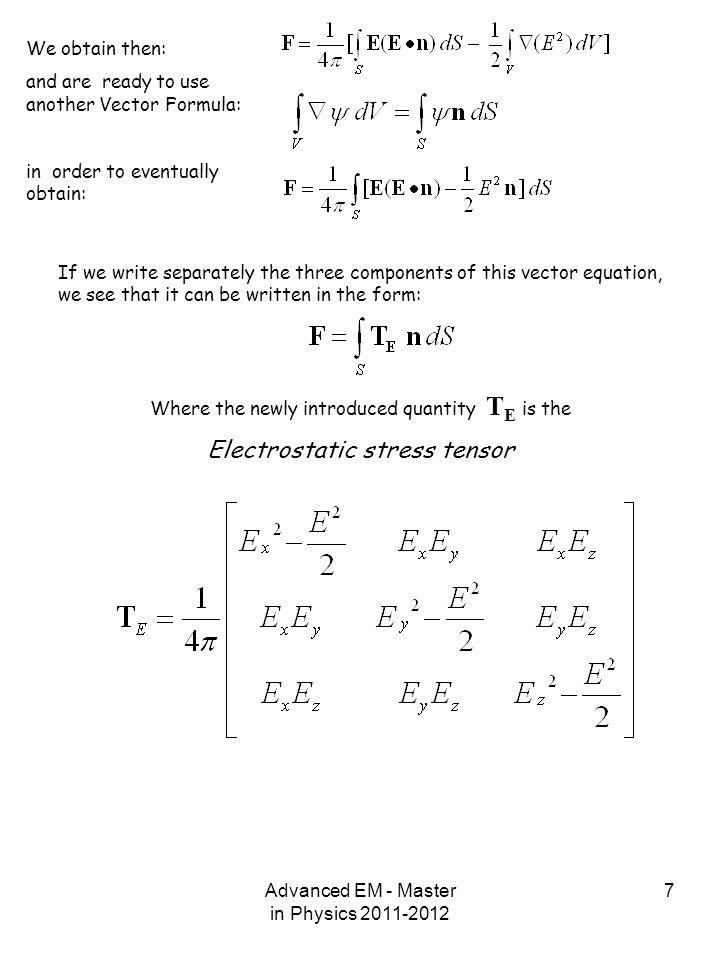 Electrostatic stress tensor