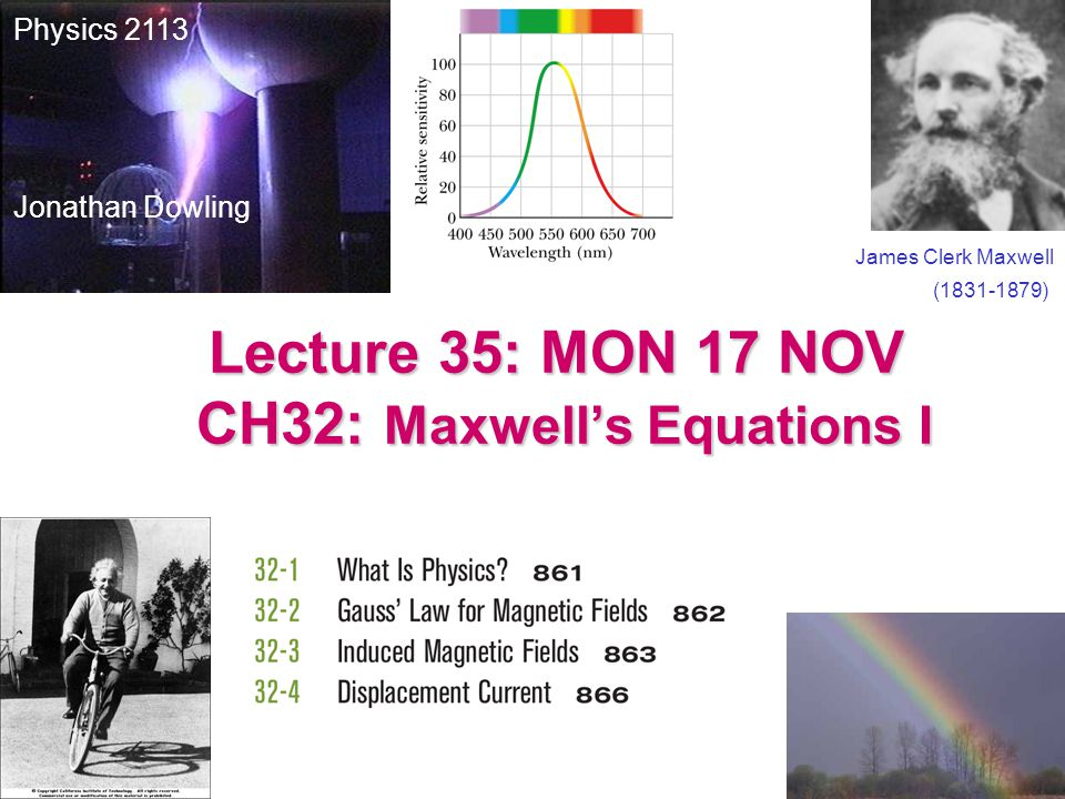 Lecture 35: MON 17 NOV CH32: Maxwell's Equations I