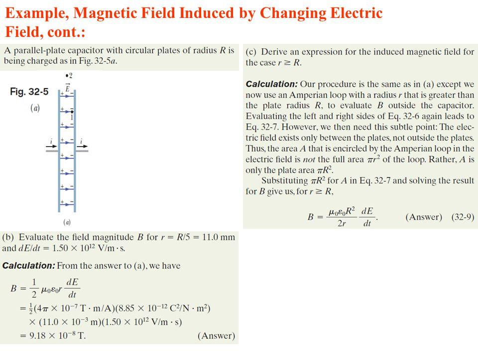 Example, Magnetic Field Induced by Changing Electric Field, cont.: