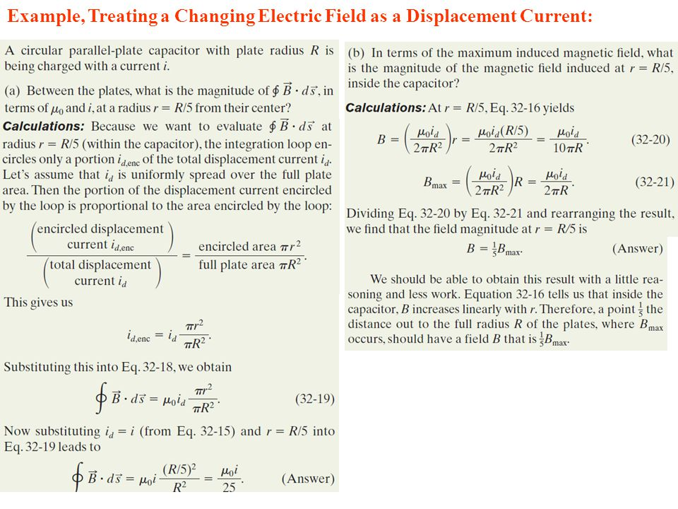 Example, Treating a Changing Electric Field as a Displacement Current: