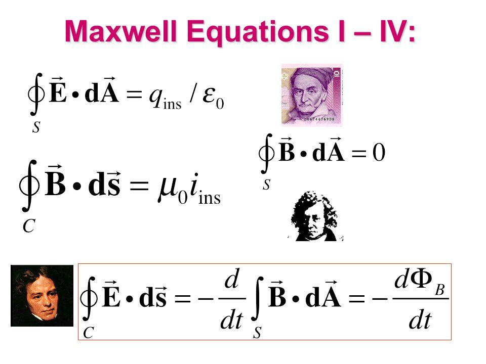 Maxwell Equations I – IV: