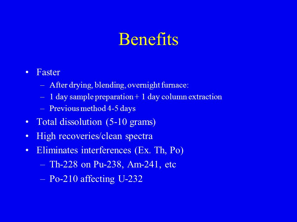 Benefits Faster Total dissolution (5-10 grams)