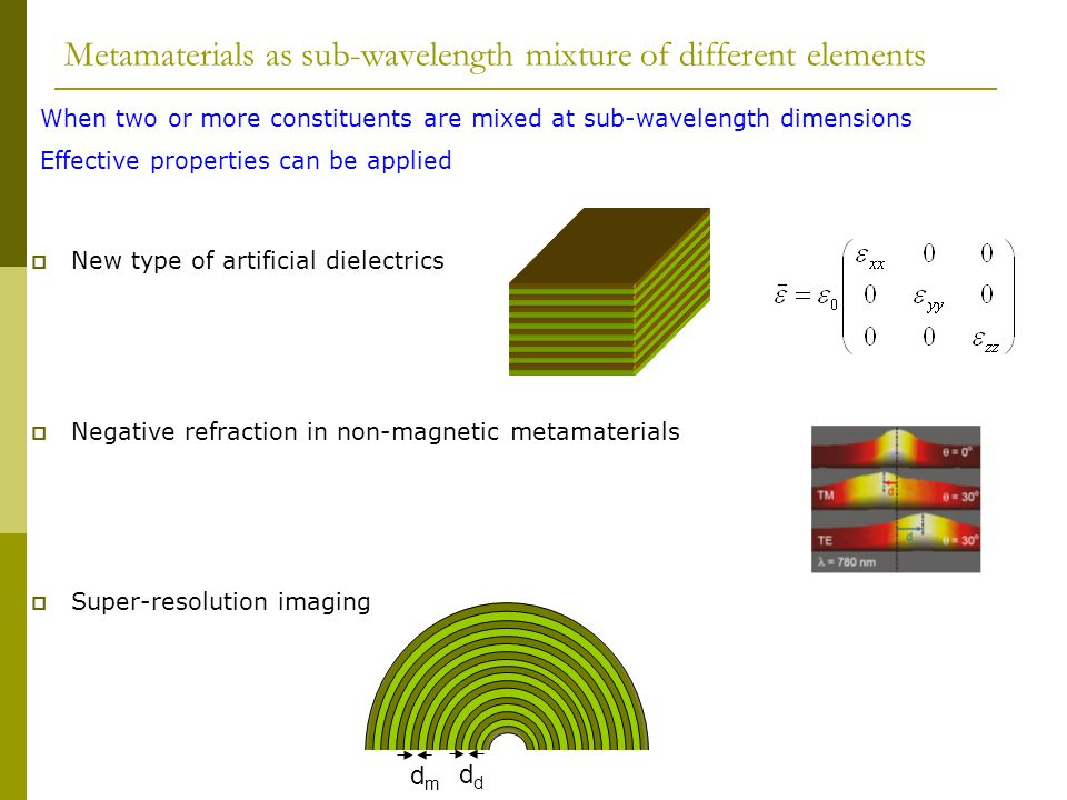 Metamaterials as sub-wavelength mixture of different elements