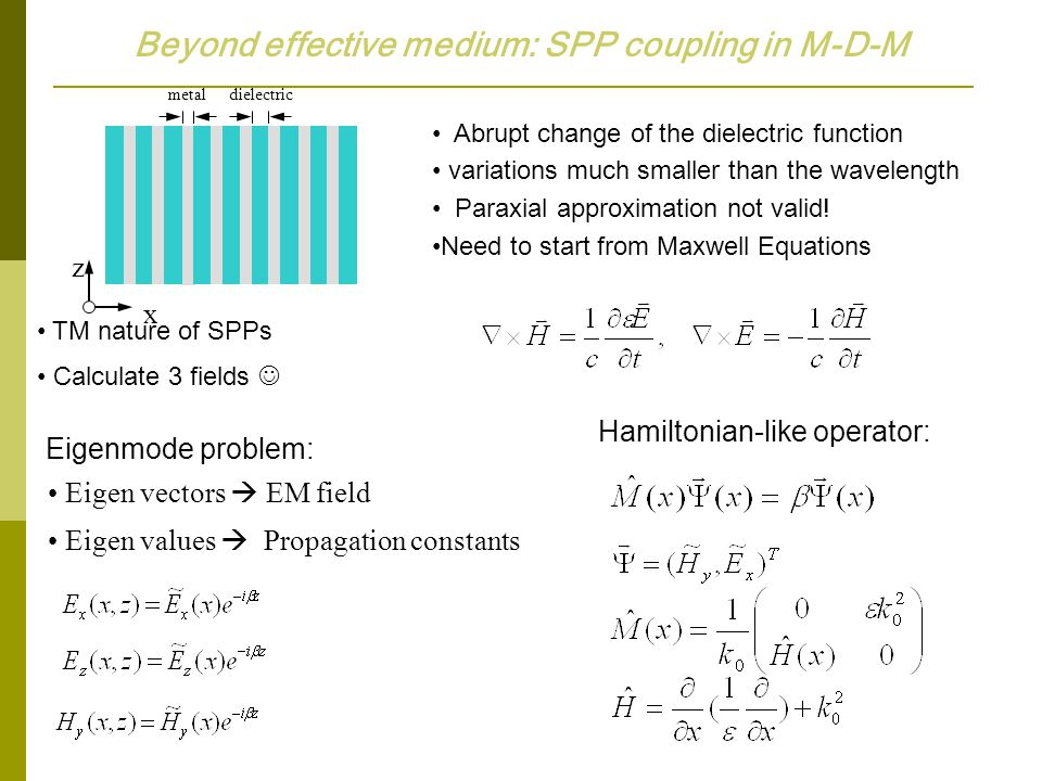 Beyond effective medium: SPP coupling in M-D-M