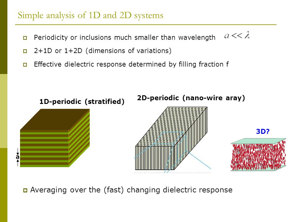 Simple analysis of 1D and 2D systems