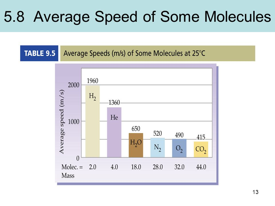 5.8 Average Speed of Some Molecules