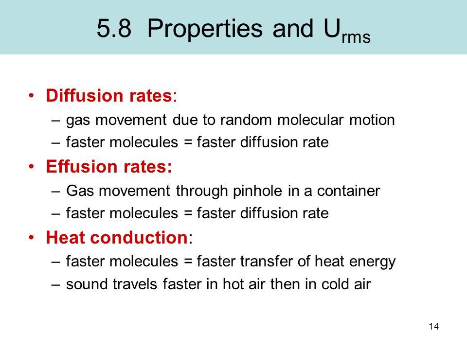 5.8 Properties and Urms Diffusion rates: Effusion rates: