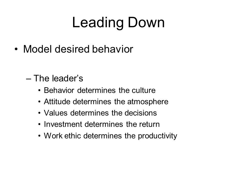 Leading Down Model desired behavior The leader's