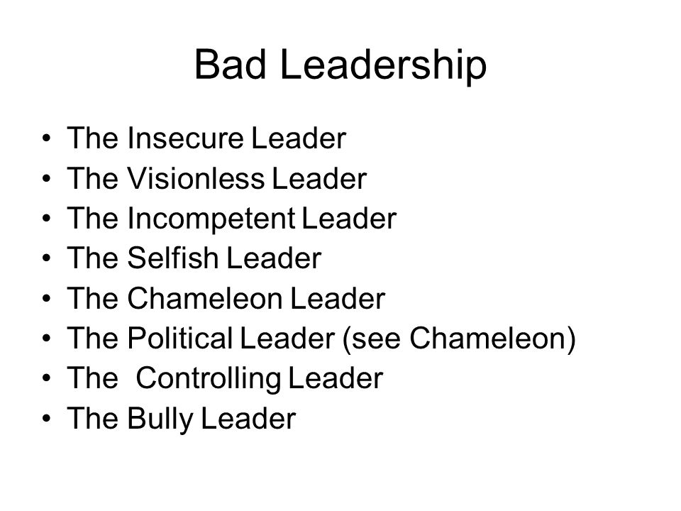 Bad Leadership The Insecure Leader The Visionless Leader