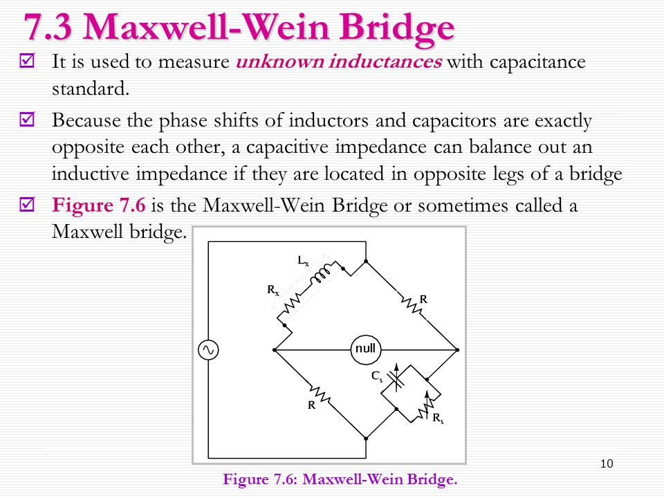 7.3 Maxwell-Wein Bridge It is used to measure unknown inductances with capacitance standard.