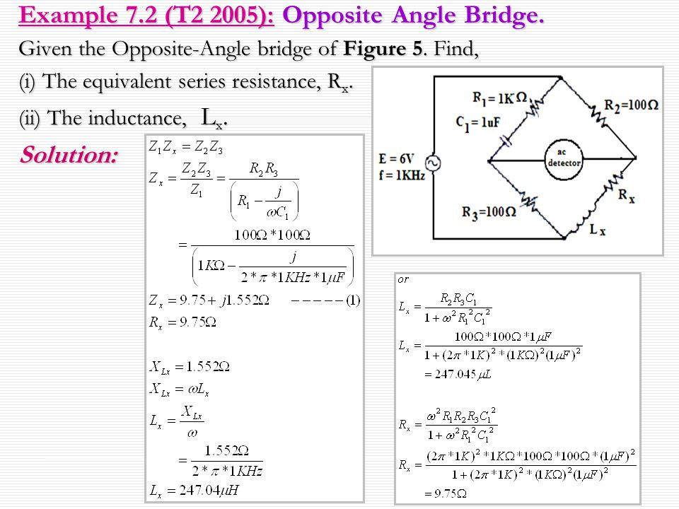 Example 7.2 (T2 2005): Opposite Angle Bridge.