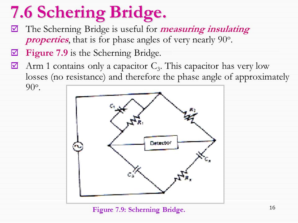 7.6 Schering Bridge. The Scherning Bridge is useful for measuring insulating properties, that is for phase angles of very nearly 90o.