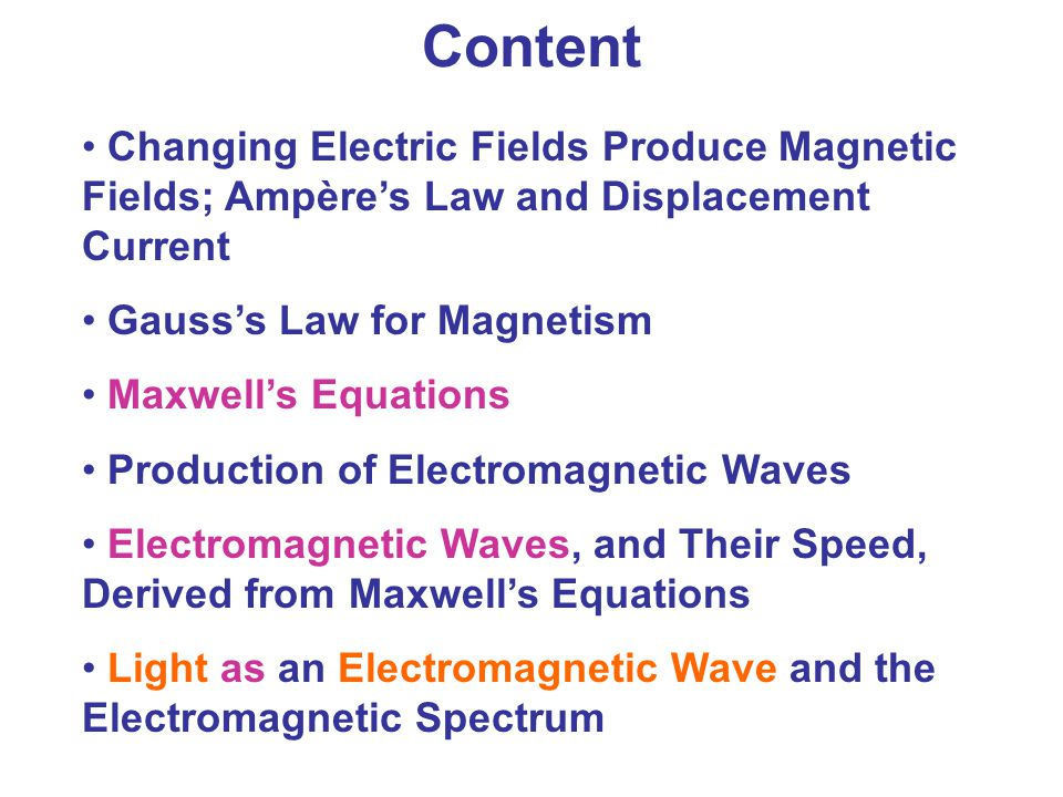 Content Changing Electric Fields Produce Magnetic Fields; Ampère's Law and Displacement Current. Gauss's Law for Magnetism.