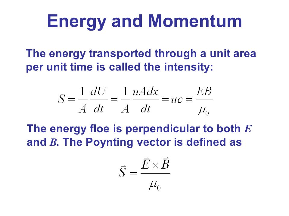 Energy and Momentum The energy transported through a unit area per unit time is called the intensity: