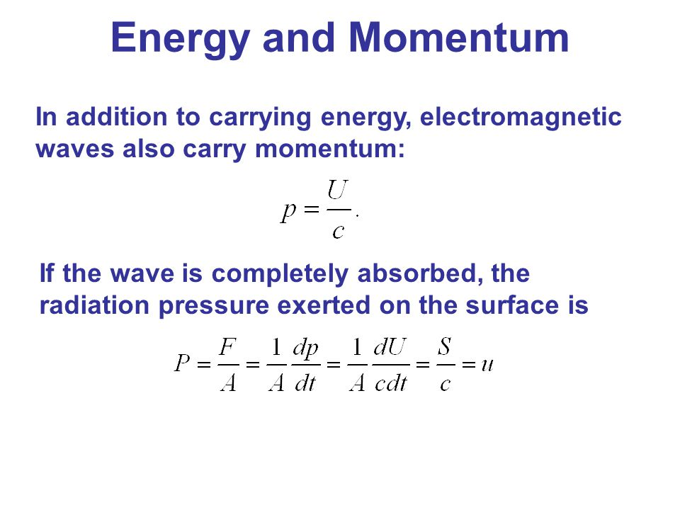 Energy and Momentum In addition to carrying energy, electromagnetic waves also carry momentum: