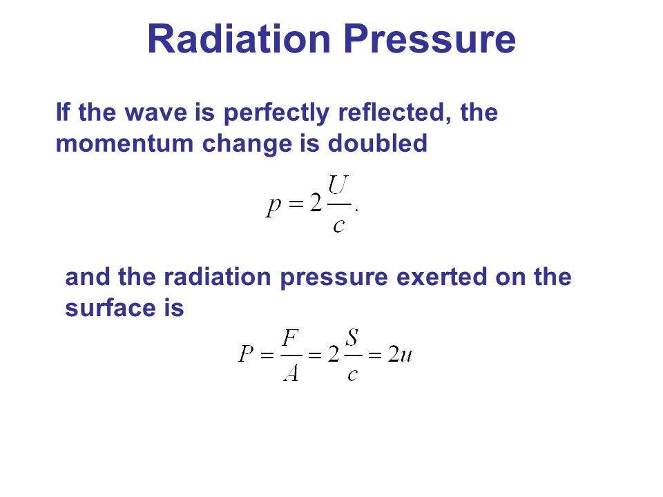 Radiation Pressure If the wave is perfectly reflected, the momentum change is doubled.