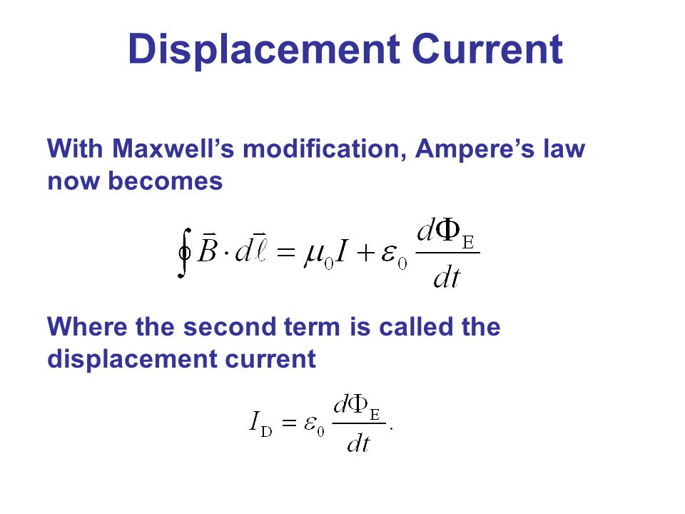 Displacement Current With Maxwell's modification, Ampere's law now becomes.