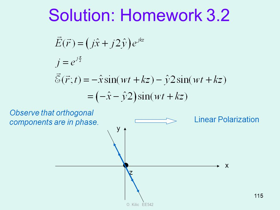 Solution: Homework 3.2 Observe that orthogonal components are in phase. Linear Polarization. y. x.