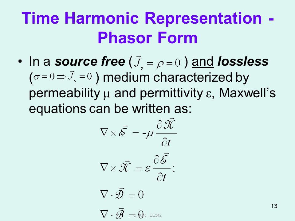 Time Harmonic Representation - Phasor Form