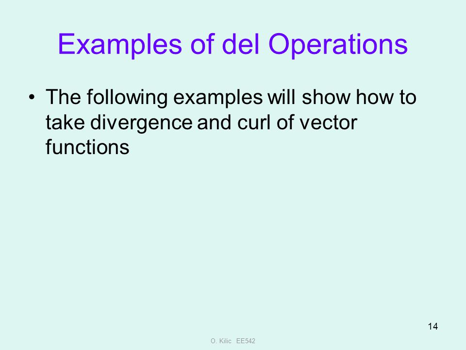 Examples of del Operations