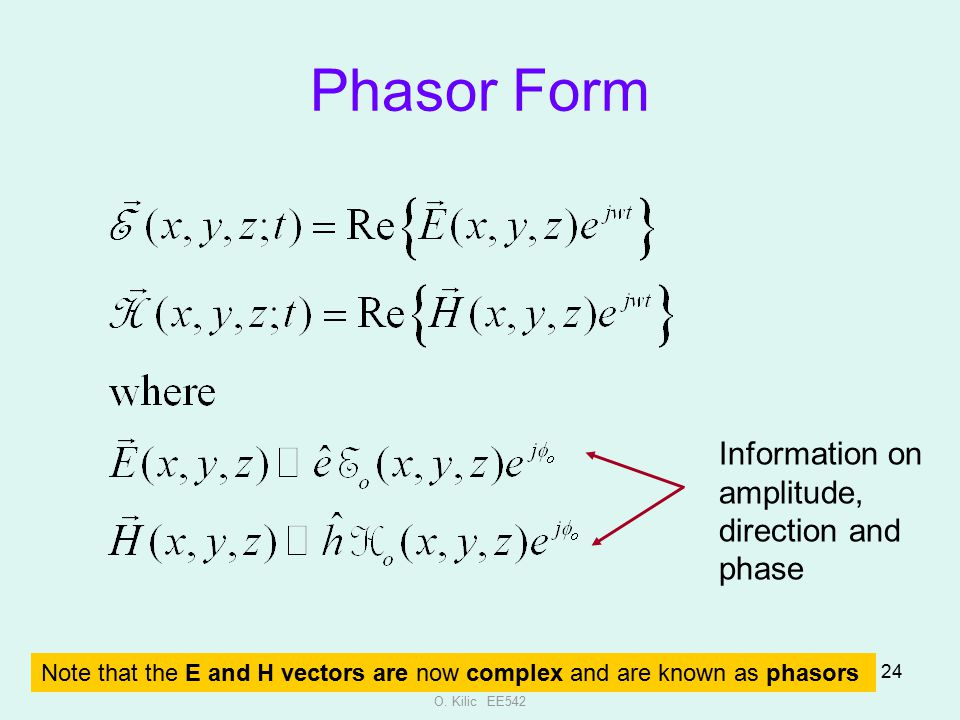 Phasor Form Information on amplitude, direction and phase