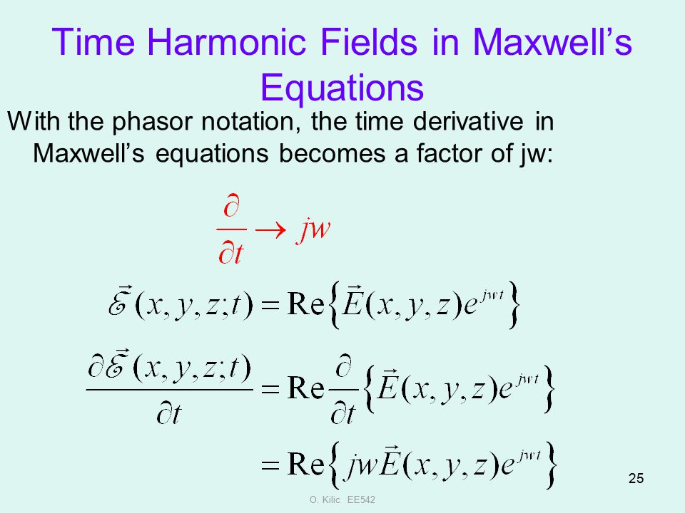 Time Harmonic Fields in Maxwell's Equations