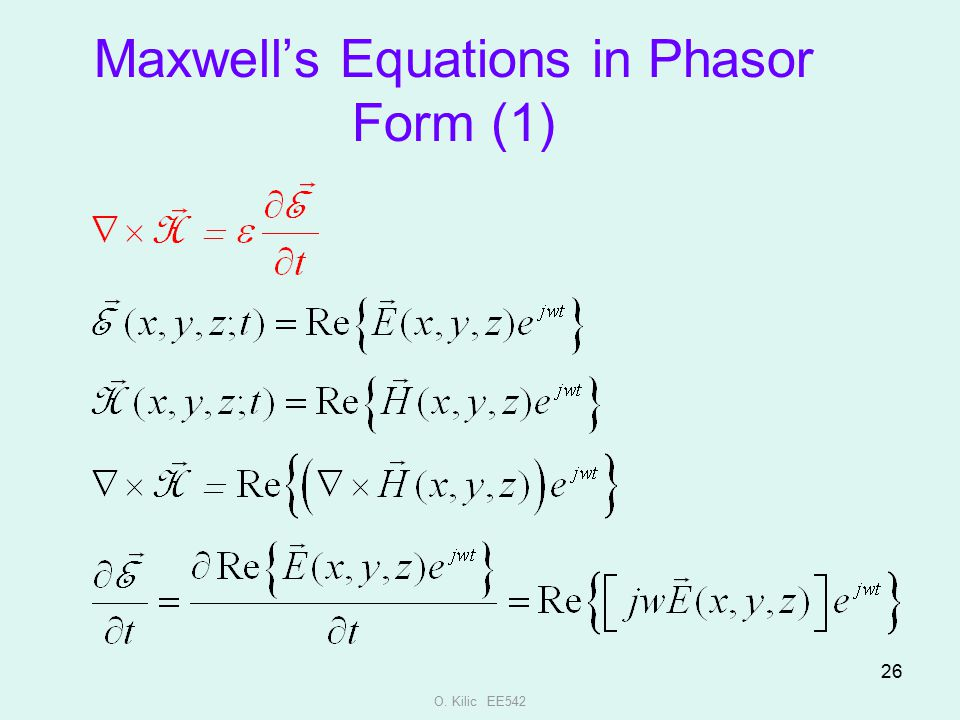 Maxwell's Equations in Phasor Form (1)