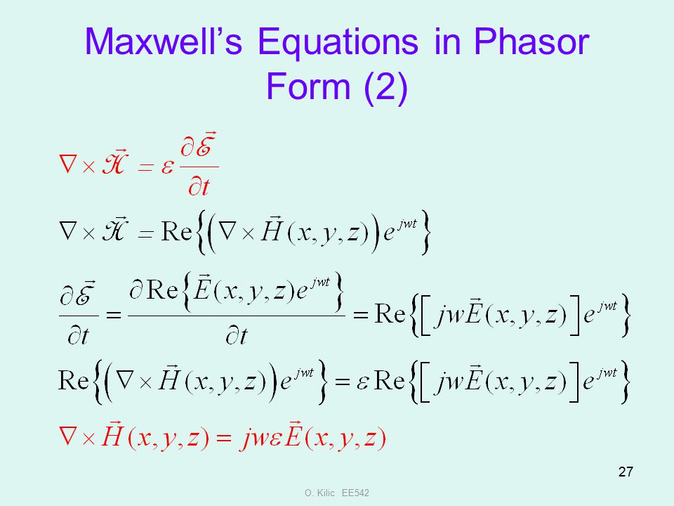 Maxwell's Equations in Phasor Form (2)