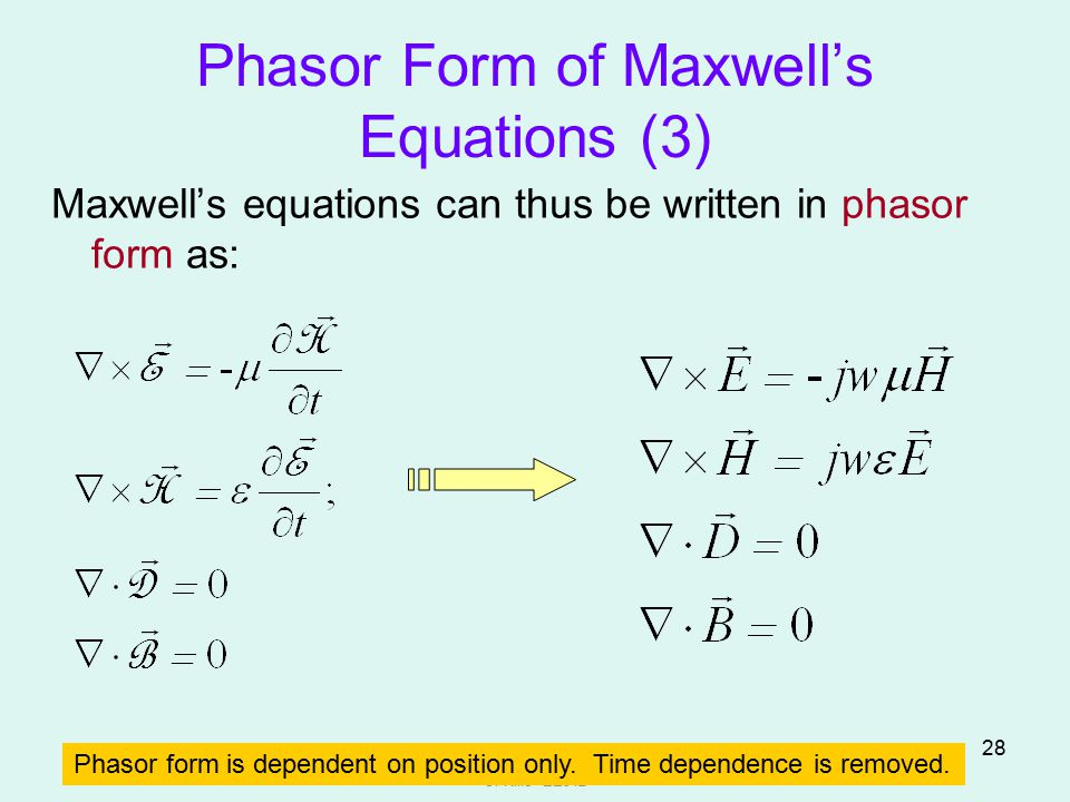 Phasor Form of Maxwell's Equations (3)