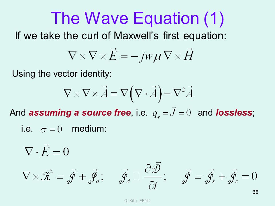 The Wave Equation (1) If we take the curl of Maxwell's first equation: