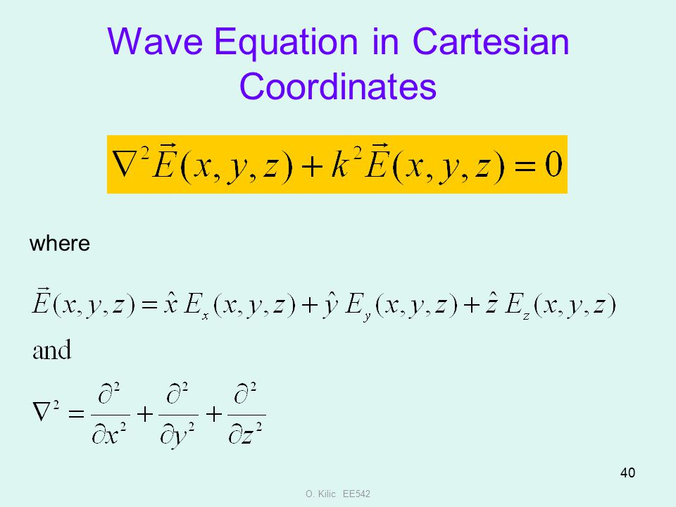 Wave Equation in Cartesian Coordinates