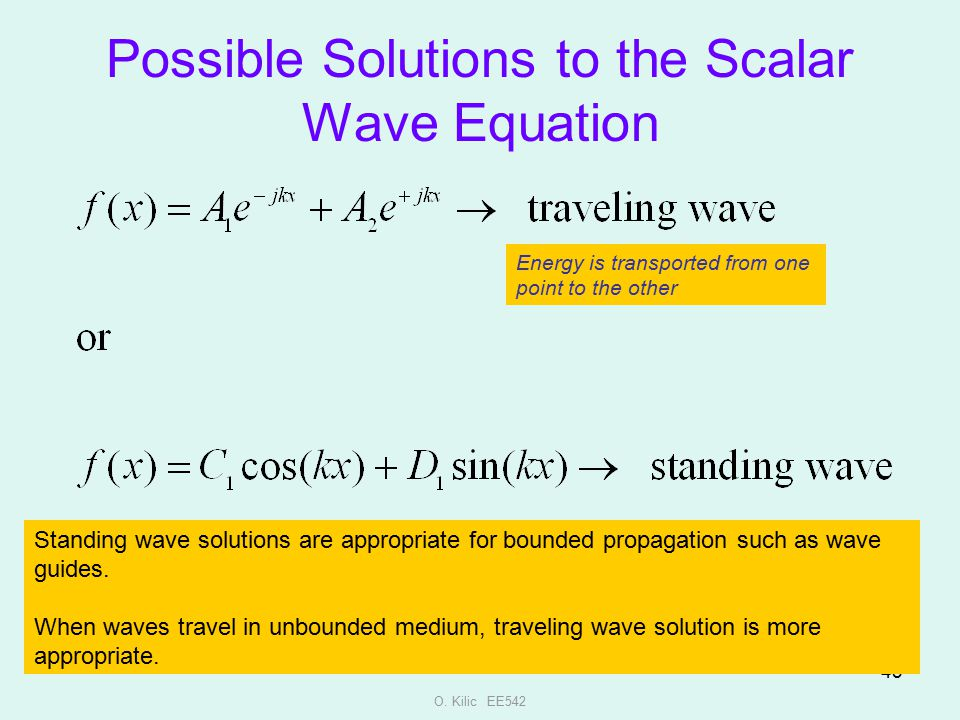 Possible Solutions to the Scalar Wave Equation