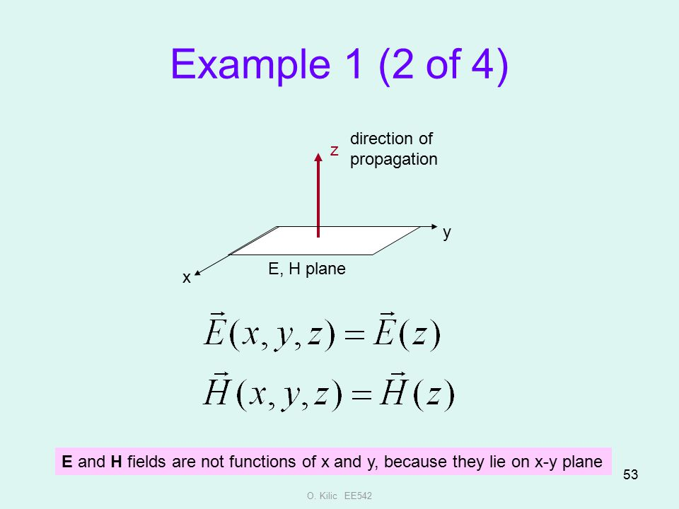 Example 1 (2 of 4) direction of propagation z y E, H plane x