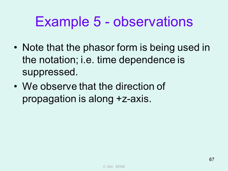 Example 5 - observations