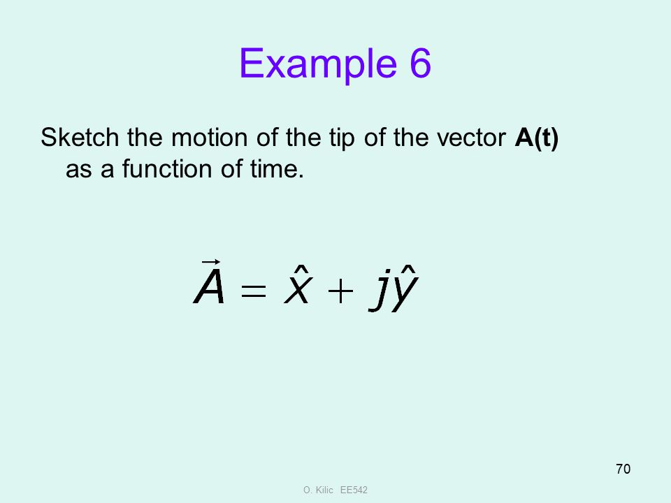 Example 6 Sketch the motion of the tip of the vector A(t) as a function of time. O. Kilic EE542