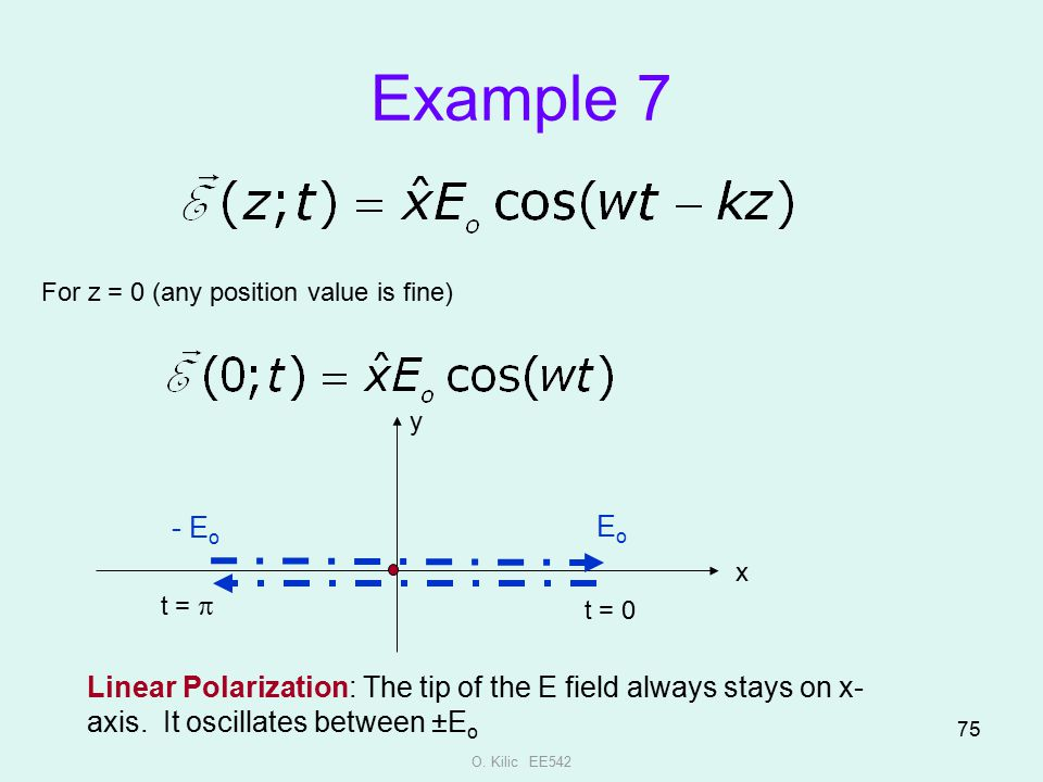 Example 7 For z = 0 (any position value is fine) y. - Eo. Eo. x. t = p. t = 0.