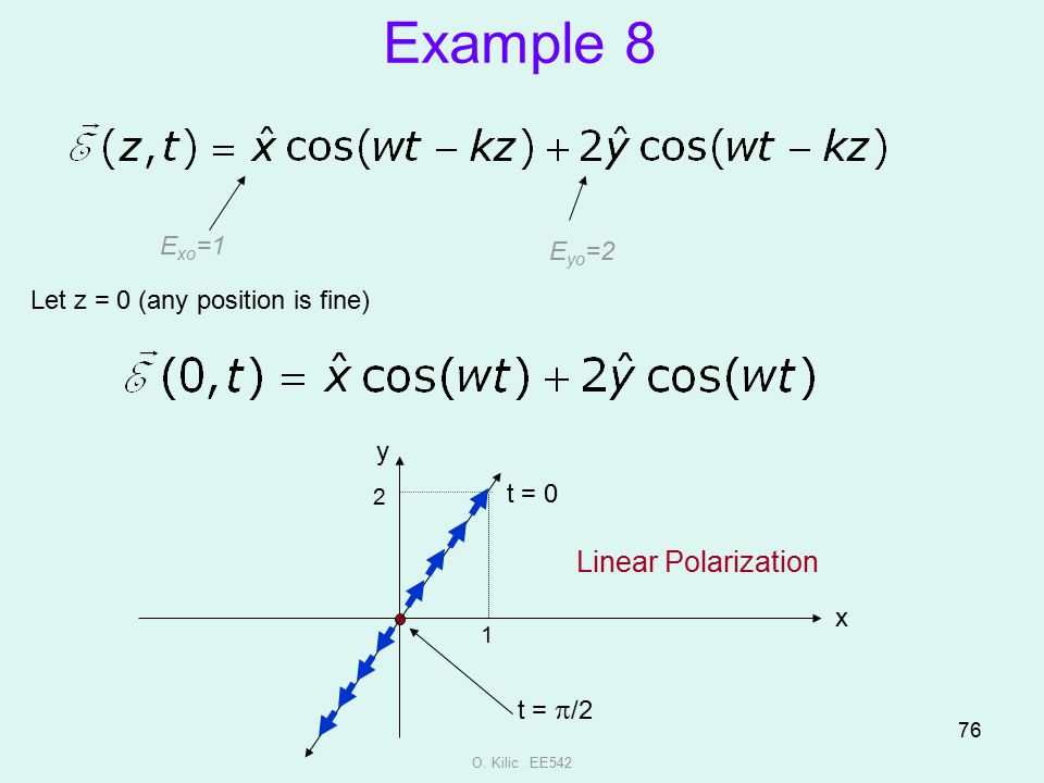 Example 8 Linear Polarization Exo=1 Eyo=2