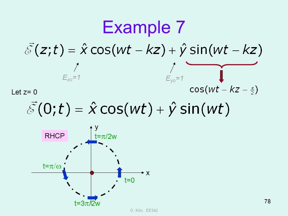 Example 7 Exo=1 Eyo=1 Let z= 0 y RHCP t=p/2w t=p/w x t=0 t=3p/2w
