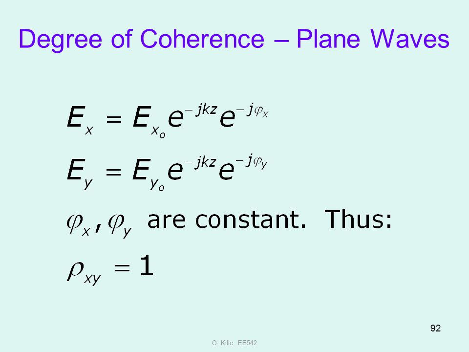 Degree of Coherence – Plane Waves