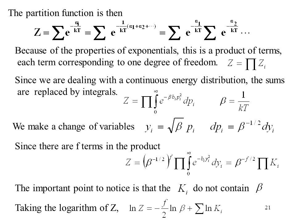 The partition function is then