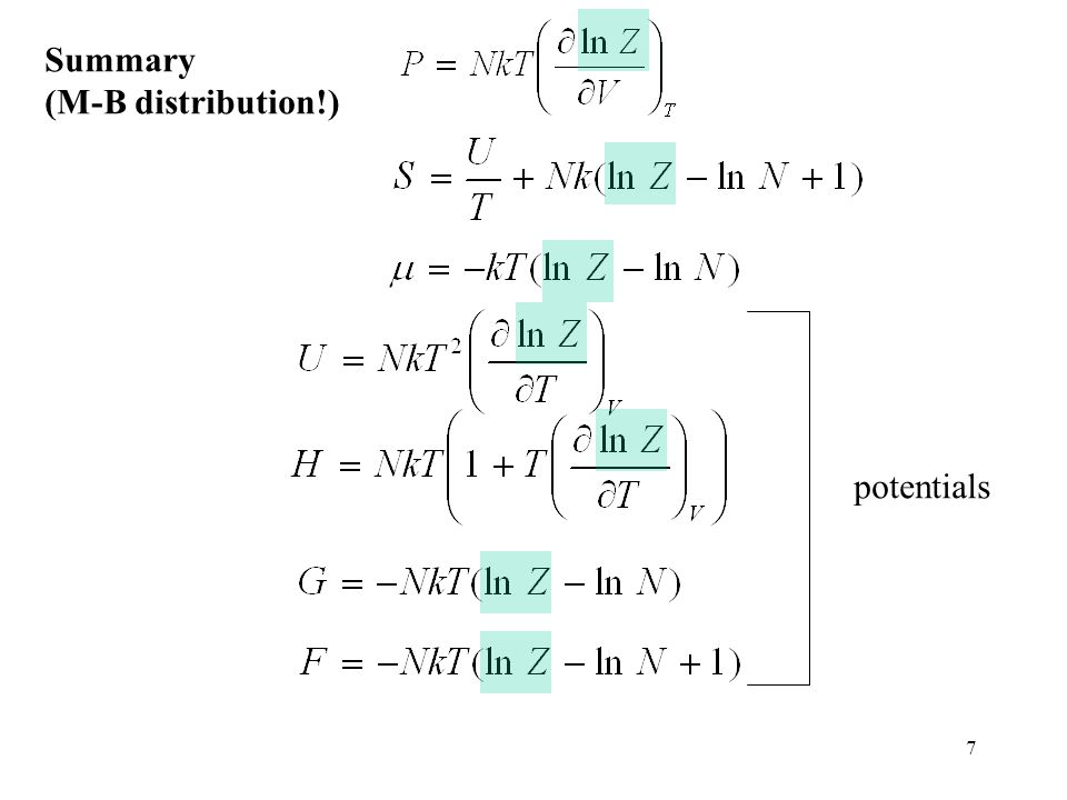 Summary (M-B distribution!) potentials