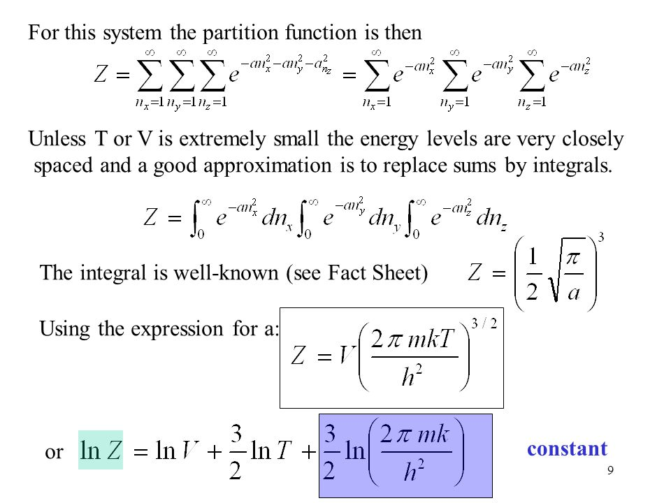 For this system the partition function is then