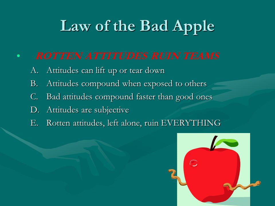 Law of the Bad Apple ROTTEN ATTITUDES RUIN TEAMS