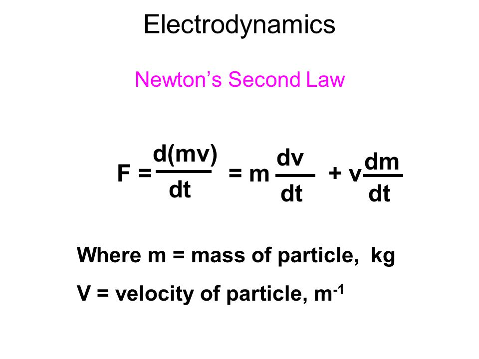 Electrodynamics d(mv) dv dm F = = m + v dt dt dt Newton's Second Law