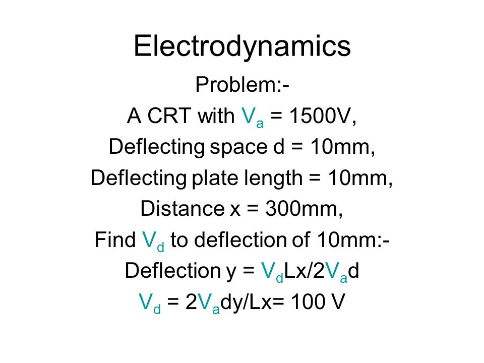 Electrodynamics Problem:- A CRT with Va = 1500V,