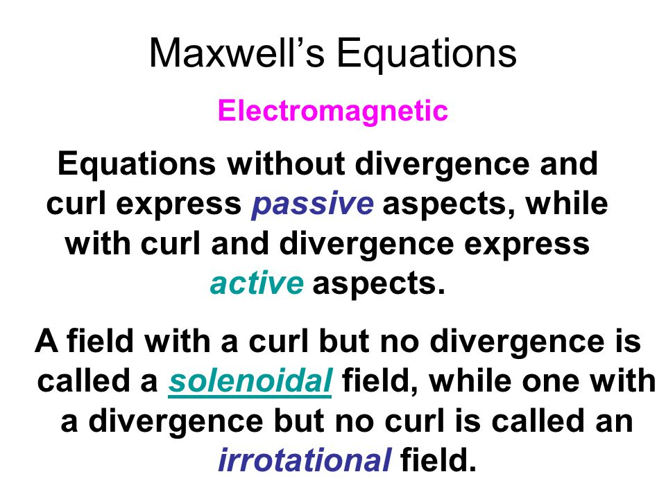 Maxwell's Equations Electromagnetic.