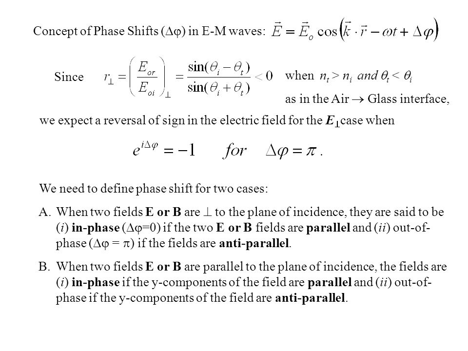 Concept of Phase Shifts () in E-M waves: